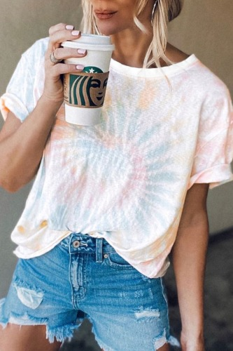 Roselypink O Neck Tie-dye Blue T-shirt