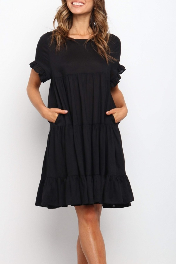 Roselypink Fold Design Flounce Pocketed Black Dress