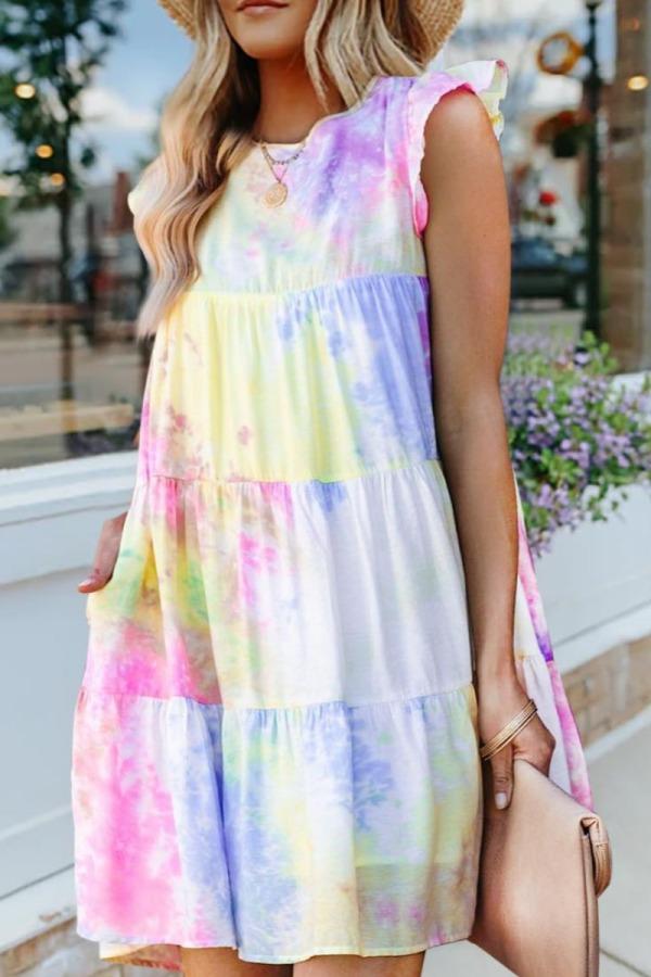Roselypink O Neck Tie-dye Multicolor Mini Dress