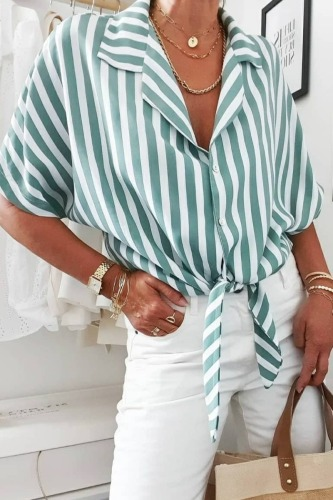 Roselypink Turndown Collar Striped Green Shirt