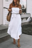 Roselypink Dew Shoulder Knot Design White Midi Dress(2 Colors)