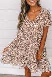 Roselypink V Neck Printed Coffee Mini Dress