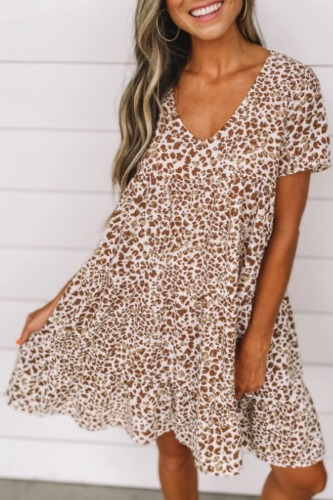 Roselypink V Neck Printed Coffee Mini Dress