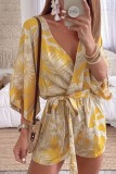 Roselypink V Neck Plants Print Yellow One-piece Romper