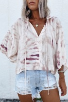 Roselypink Hooded Collar Tie-dye White Blouse