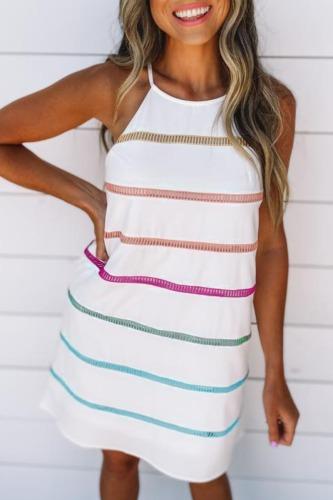Roselypink Halter Striped Print Mini Dress (2 Colors)