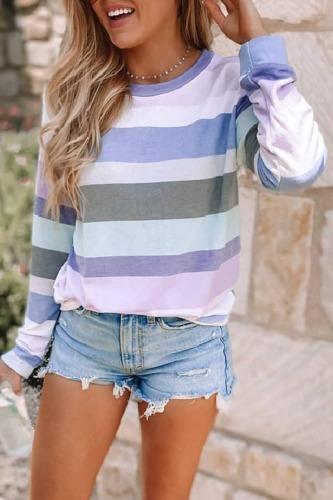 Roselypink O Neck Striped Purple T-shirt