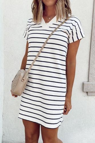 Roselypink Striped Design Black Mini Dress