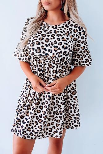 Roselypink O Neck Leopard Print Mini Dress