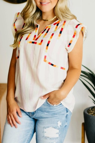Roselypink Embroidered Design Ruffled White Blouse