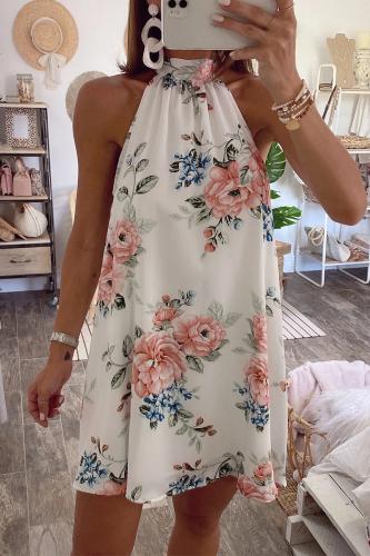 Roselypink Turtleneck Plants Printed White Mini Dress