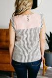 Roselypink Striped Patchwork Tassel Design Black Blouse