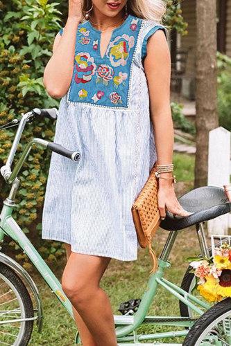 Roselypink Embroidered Striped Patchwork Design Blue Mini Dress
