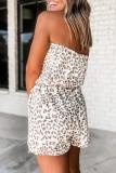 Roselypink Off Shoulder Leopard Printed Lace-Up White One-piece Romper