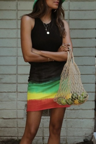 Roselypink Sleeveless Tie-dye Black Mini Dress