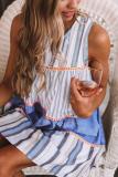 Roselypink Striped Patchwork Design Blue Mini Dress