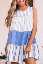Roselypink Striped Patchwork Design Blue Mini Dress
