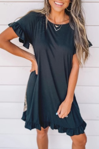 Roselypink Flounce Design Leopard Printed Black Mini Dress (3 Colors)