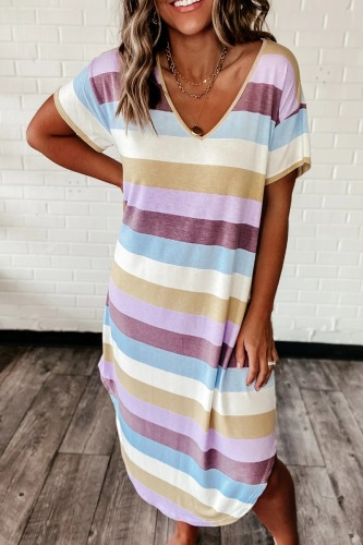 Roselypink V Neck Rainbow Striped Purple Midi Dress