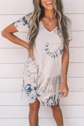 Roselypink V Neck Tie-dye Blue Mini Dress