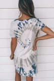 Roselypink V Neck Tie-dye Blue Mini Dress