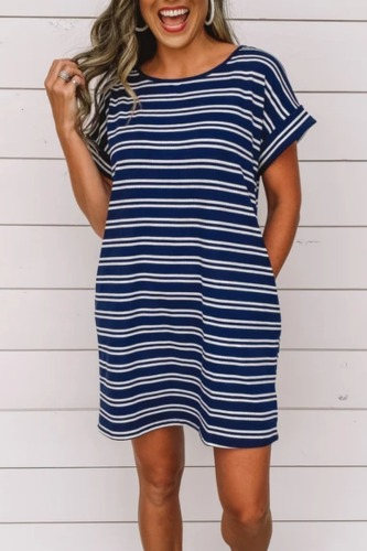 Roselypink Loose Striped Dark Blue Mini Dress