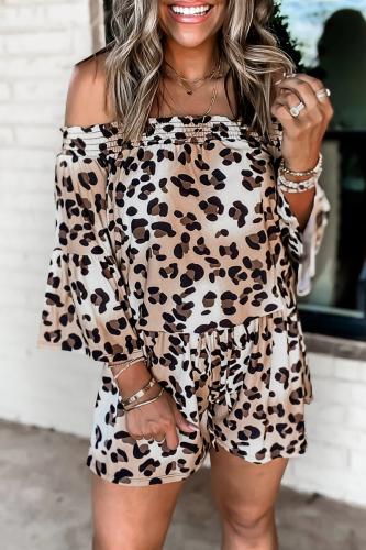 Roselypink Off Shoulder Leopard Long Sleeve White One-piece Romper