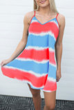 Roselypink Tie-dye Print Striped Multicolor Mini Dress