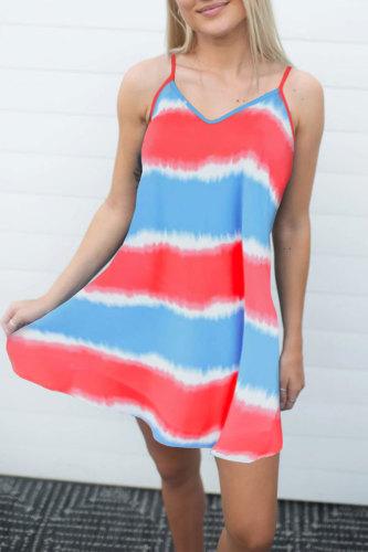 Roselypink Tie-dye Print Striped Multicolor Mini Dress