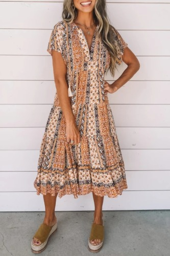 Roselypink Boho Lace-up Printed Yellow Midi Dress