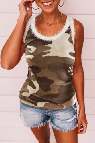 Roselypink Camo Printed Army Green Camisole