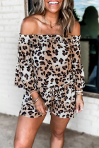 Roselypink Off Shoulder Leopard Long Sleeve White One-piece Romper