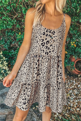 Roselypink Print Light Camel Mini Dress