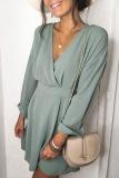 Roselypink V Neck Basic Green Mini Dress