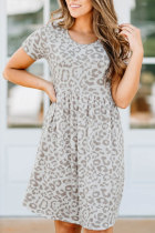 Roselypink Printed Beige Mini Dress