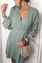 Roselypink V Neck Basic Green Mini Dress