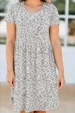 Roselypink Printed Beige Mini Dress
