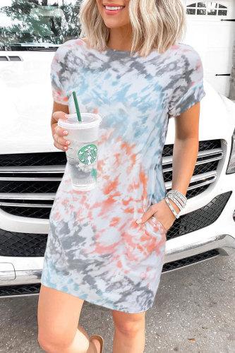 Roselypink O Neck Tie-dye Grey Mini Dress