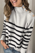 Roselypink Turtleneck Button Grey Sweater