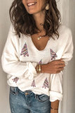 Roselypink Christmas Day V Neck White Sweater