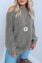 Roselypink O Neck Hollow-out Grey Sweater