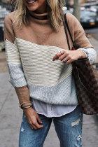 Roselypink Turtleneck Patchwork Khaki Sweater