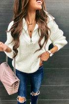 Roselypink Zipper Design White Sweater