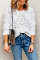 Roselypink V Neck Hollow-out White Sweaters