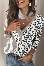 Roselypink Patchwork Hollow-out Grey Sweater