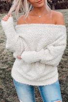 Roselypink Fur Off Shoulder White Sweater