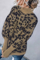 Roselypink Leopard Patchwork Coffee Sweater