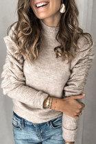 Roselypink Turtleneck Ruffle Design Apricot Sweater