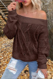 Roselypink Off Shoulder Solid Coffee Sweater