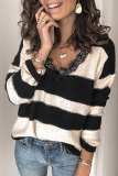 Roselypink Striped Black Sweater